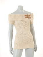 BEIGE knitted tunic with buckle detail W016