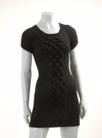 BLACK cap sleave long knit with zip detail at back W017