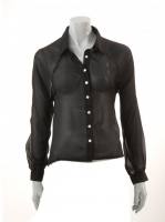 BLACK Blouse with lace back detail S3850
