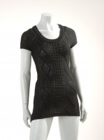 BLACK Knitted short sleave tunic W018