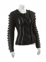BLACK Thick knit with Pom Pom detail W06