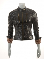 BLACK Vinyl Jacket with animal print lining M1025
