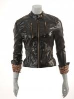 BLACK Vinyl Jacket with animal print lining M1025