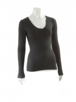 BLACK Vneck fitted knit W002