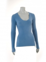 BLUE Vneck fitted knit W002