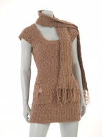 COFFEE knitted tunic with scarf avail in GREY & BLACK W39