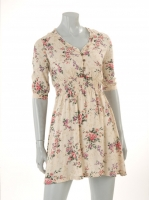 CREAM 3/4 Sleave floral dress W33