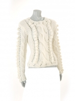CREAM Thick knit with Pom Pom detail W06