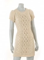 CREAM cap sleave long knit with zip detail at back W017