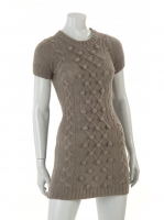 GREY cap sleave long knit with zip detail at back W017