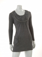GREY Round neck dress with pockets W04