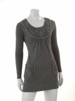 GREY Round neck dress with pockets W04