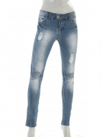 LIGHT BLUE ripped Jeans with detail stitching W028