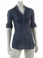 NAVY Military blouse with stud detail M1038