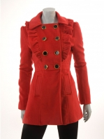 RED Military Coat with Frills M972