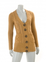 TAN Knitted Chunkey Cardigan W05