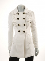 WHITE Military Coat with Frills M972
