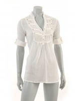WHITE Military blouse with stud detail M1038