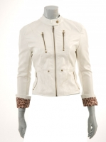 WHITE Vinyl Jacket with animal print lining M1025