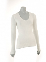 WHITE Vneck fitted knit W002