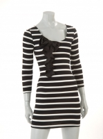 Striped dress with black bow 90076